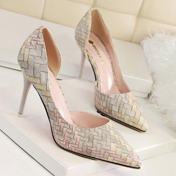 Pointed Toe Stiletto Heel Woven Pattern Pumps