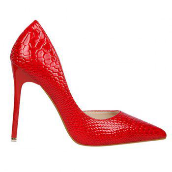 Stiletto Heel Patent Leather Embossing Pumps - 39 39