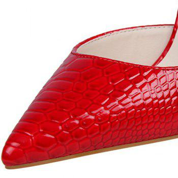 Stiletto Heel Patent Leather Embossing Pumps - RED 38