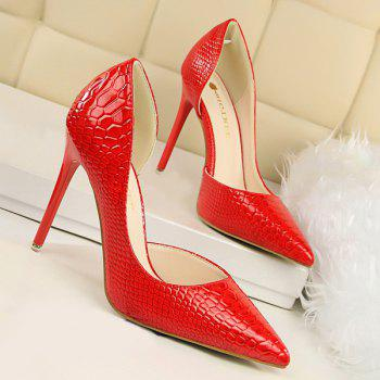 Stiletto Heel Patent Leather Embossing Pumps