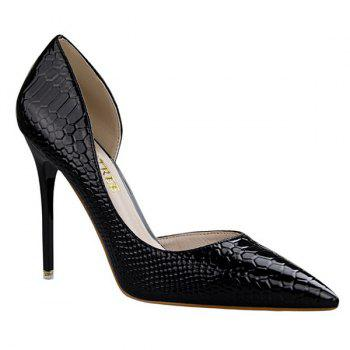 Stiletto Heel Patent Leather Embossing Pumps - BLACK BLACK