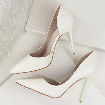 Stiletto Heel Patent Leather Embossing Pumps - WHITE 37