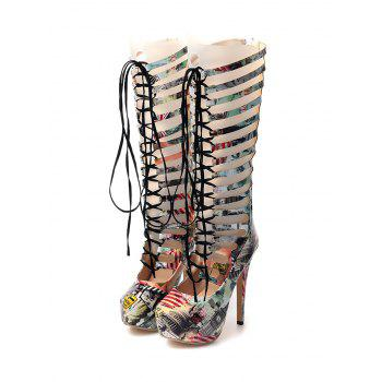 Tie Up Hollow Out Building Print Boots - 39 39