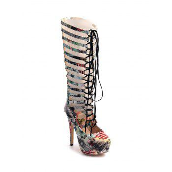 Tie Up Hollow Out Building Print Boots