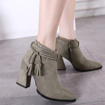 Stitching Zipper Tassels Ankle Boots - 38 38