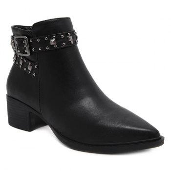 Buckle Strap Zipper Rivets Ankle Boots