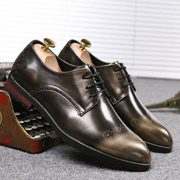 Pointed Toe Tie Up Engraving Formal Shoes - GOLDEN GOLDEN