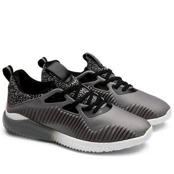 Leopard Print Color Block Athletic Shoes - GRAY GRAY