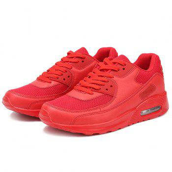 Lace-Up Splicing Breathable Athletic Shoes - RED RED