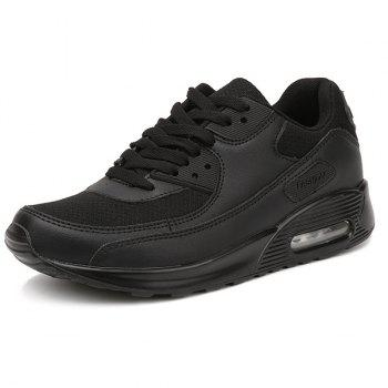 Lace-Up Splicing Breathable Athletic Shoes - BLACK 42