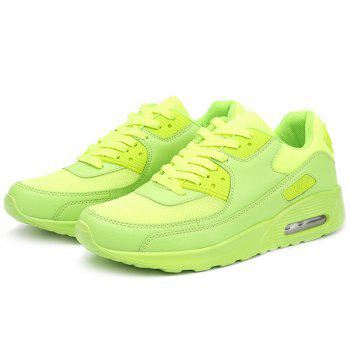 Lace-Up Splicing Breathable Athletic Shoes - NEON GREEN 42