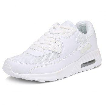 Lace-Up Splicing Breathable Athletic Shoes - WHITE 40
