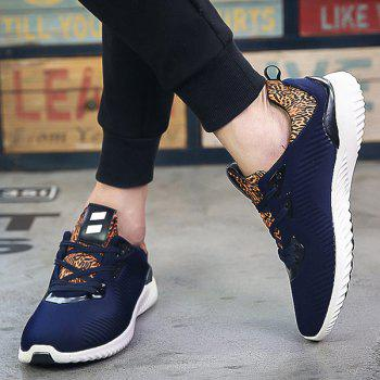 Leopard Print Stretch Fabric Athletic Shoes - DEEP BLUE DEEP BLUE