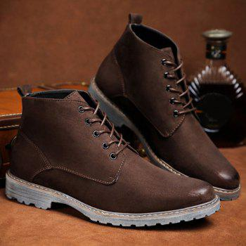 Dark Colour Tie Up Suede Casual Shoes - DEEP BROWN 40