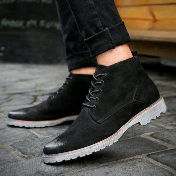 Dark Colour Tie Up Suede Casual Shoes - BLACK BLACK
