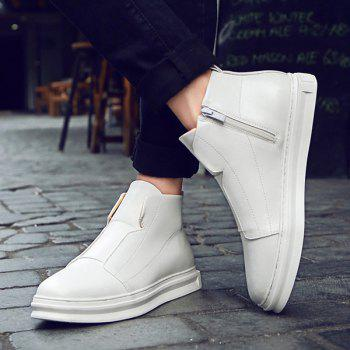 Stitching PU Leather Zipper Casual Shoes - WHITE WHITE