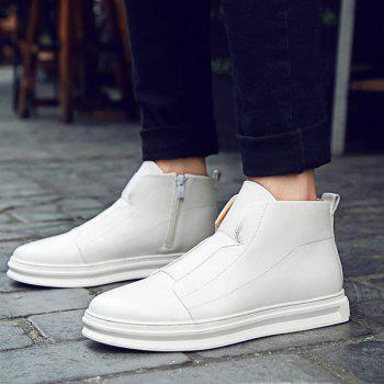 Stitching PU Leather Zipper Casual Shoes - 44 44