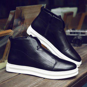 Stitching PU Leather Zipper Casual Shoes - 41 41