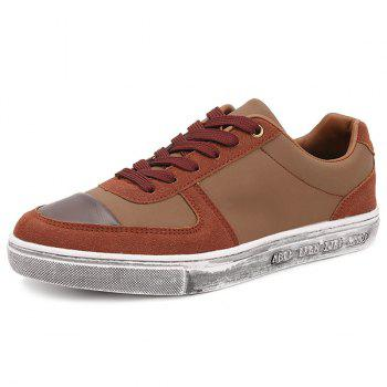 Tie Up PU Leather Splicing Casual Shoes - 40 40