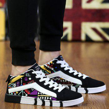 Suede Color Block Geometric Pattern Casual Shoes - BLACK AND PURPLE 40
