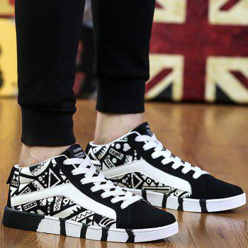 Suede Color Block Geometric Pattern Casual Shoes - WHITE AND BLACK 40