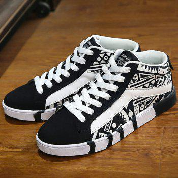 Suede Color Block Geometric Pattern Casual Shoes - WHITE/BLACK 40
