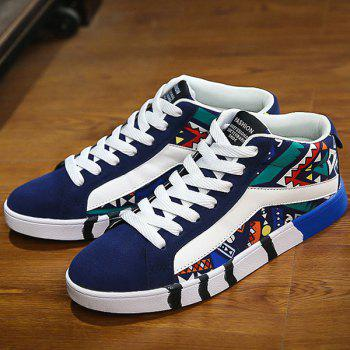 Suede Color Block Geometric Pattern Casual Shoes - 42 42