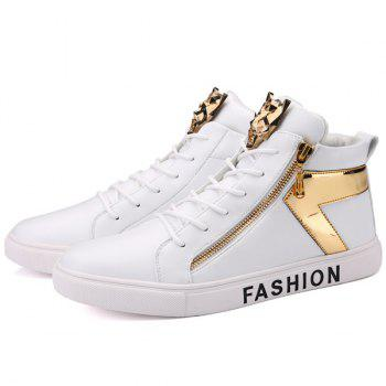 Metal Color Splicing Zipper Casual Shoes - WHITE WHITE