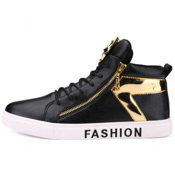 Metal Color Splicing Zipper Casual Shoes - BLACK 40