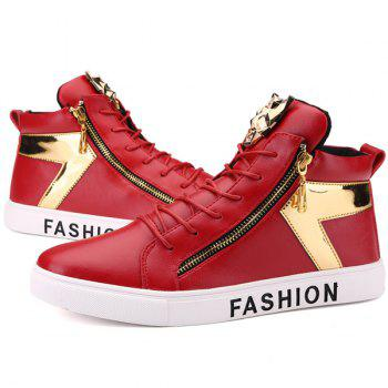 Metal Color Splicing Zipper Casual Shoes - RED 40
