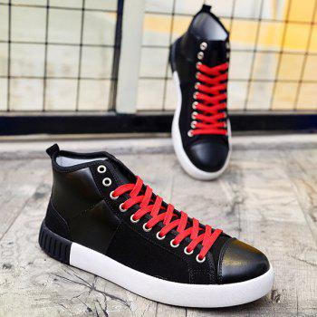 Suede Lace-Up Splicing Casual Shoes - BLACK BLACK