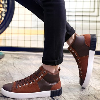Suede Lace-Up Splicing Casual Shoes - 44 44
