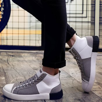 Suede Lace-Up Splicing Casual Shoes - GREY/WHITE GREY/WHITE