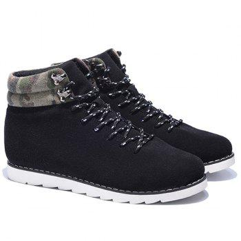 Lace-Up Metal Camouflage Pattern Casual Shoes - BLACK BLACK