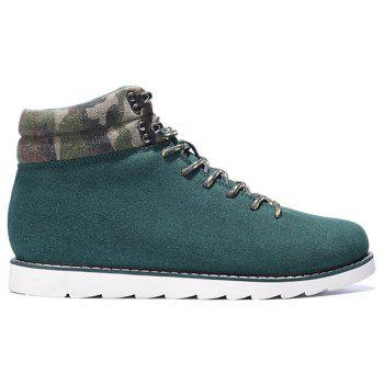 Lace-Up Metal Camouflage Pattern Casual Shoes - GREEN GREEN