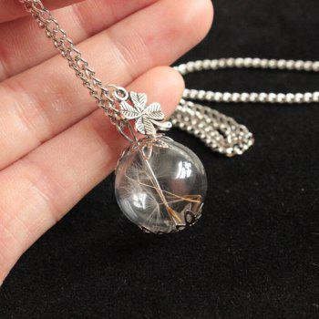 Dandelion Glass Ball Clover Necklace - SILVER
