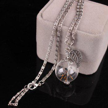 Glass Ball Filigree Leaf Dandelion Necklace