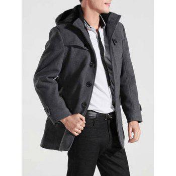 Hooded Button-tab Cuffs Belted Coat