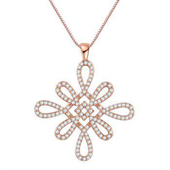 Chinese Knot Artificial Diamond Pendant Necklace