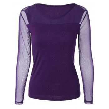 Scoop Neck Mesh-Insert Slimming T-Shirt