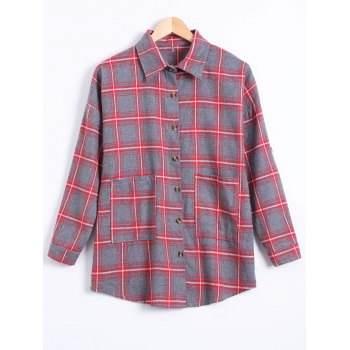 Plus Size Letter Pockets Plaid Shirt