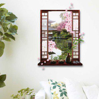 3D Stereo Peach Flower Garden Window Design Wall Stickers