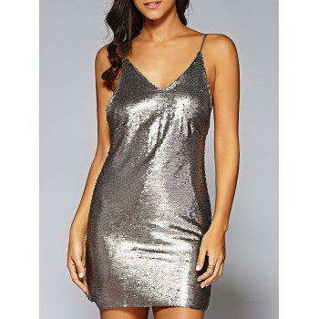 Sequins Backless Mini Slip Tight Evening Club Dress