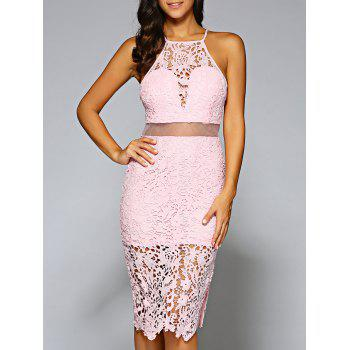 Jewel Neck Openwork Lace Dress