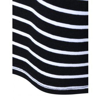 Striped Splicing Slimming T-Shirt - BLACK BLACK