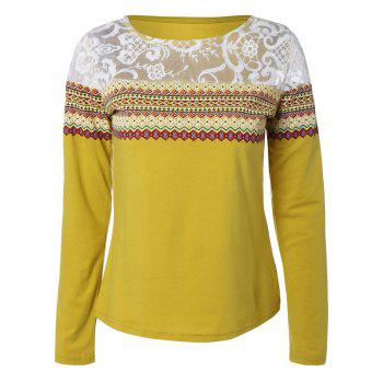 Lace Spliced Tribal Print T-Shirt - YELLOW YELLOW
