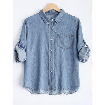 Bleach Wash Hemming Sleeves Denim Shirt