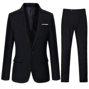 Edging Slimming Lapel One-Button Business Suit ( Blazer + Pants )