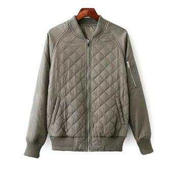 Stand Neck Raglan Sleeve Padded Jacket
