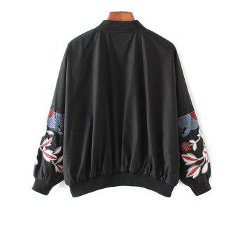 Floral Stand Neck Bomber Jacket - S S